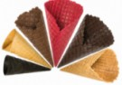 Wafle cukrowe: Rożki z kratką bez rantu, rożki z kratką z rantem